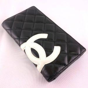 CHANEL シャネル カンボンライン 二つ折り 長財布 黒x白 内側ショッキングピンク