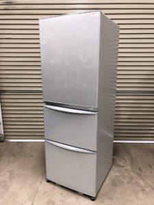 TOSHIBA 東芝 375L 3ドア冷凍冷蔵庫 GR-E38N ブライトシルバー 自動製氷付き 置けちゃうスリム