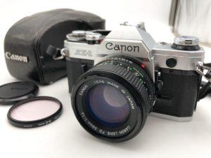 城里にてCanonのカメラのAE-1と50mmのレンズを出張買取いたしました
